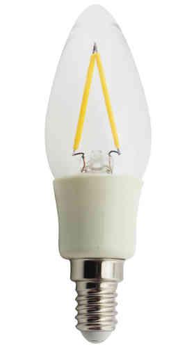 Leditburn E14 LED Kerze Fadenlampe klar 2 Watt (ersetzt 25W) A++ 210lm warmweiß 240V nicht dimmbar