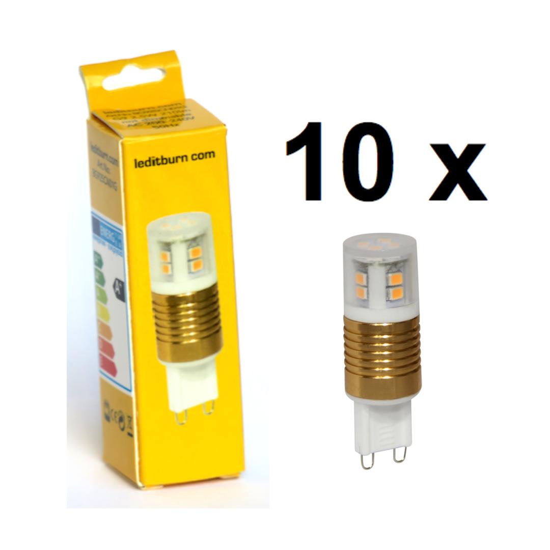 leditburn 10er pack g9 led cylinder gold 2 5 watt ersetzt 20w a 210lm warmwei 240v nicht. Black Bedroom Furniture Sets. Home Design Ideas