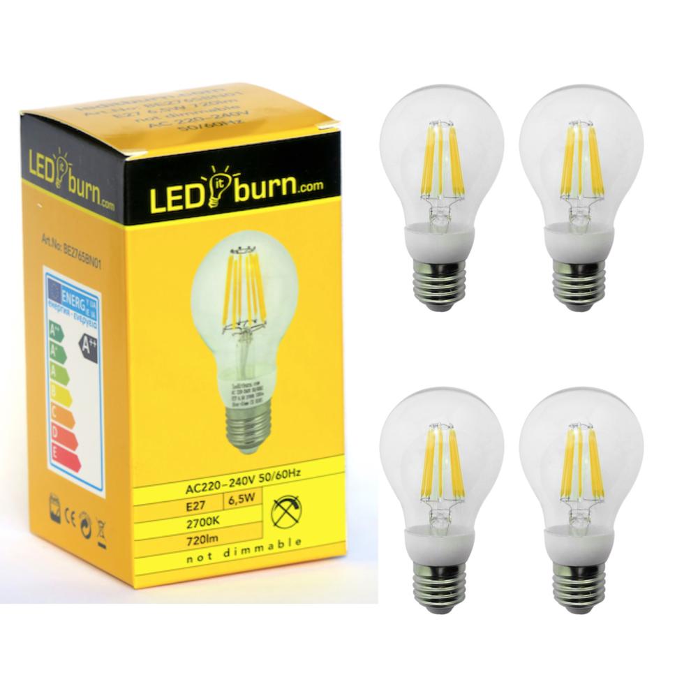 Leditburn 4 Pcs E27 Led Filament Bulb 6 5 Watt Equals 60w A